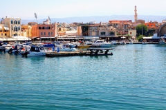 Fishermen boats in harbor Chania Royalty Free Stock Image