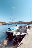 Fishermen boats at Kalamitsi harbor in Northern Greece Royalty Free Stock Image