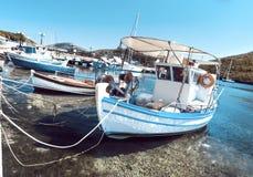 Fishermen boats at Kalamitsi harbor in Sithonia, Greece royalty free stock images