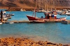 Fishermen boats in La Graciosa stock photography