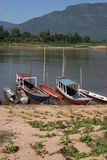 Fishermen boats on Mekong river Royalty Free Stock Images