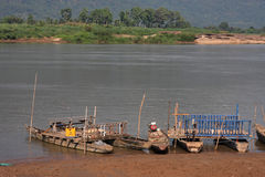 Fishermen boats on Mekong river Stock Image