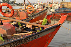Fishermen boats, Montevideo Royalty Free Stock Images