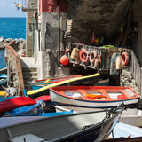 Fishermen boats in a small Italian village Stock Images