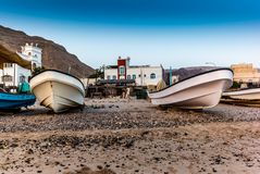 Fishermen boats at sunrise on the shore of the Oman coast. 1 stock images