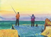 Fishermen on a breakwater. A scene of sea fishing from the shore. Colorful seascape. Multicolored clouds, calm sea.Watercolor painting on paper Royalty Free Stock Images