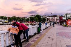Fishermen In The Bridge - Turkey Royalty Free Stock Images