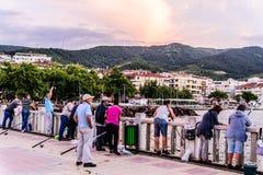 Fishermen In The Bridge - Turkey Stock Photos