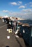 Fishermen on Bridge Royalty Free Stock Photos