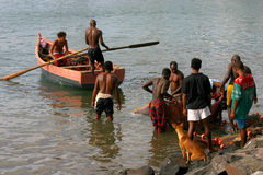 Fishermen in Cape verde Royalty Free Stock Images