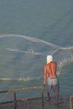 Fishermen casting fishing sea Stock Images