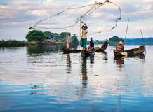 Fishermen catch fish December 3, 2013 Royalty Free Stock Images