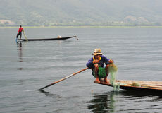 Fishermen catch fish on the Inle lake in Shan, Myanmar Stock Images