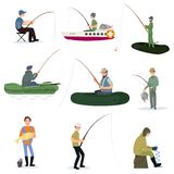 Fishermen Catching Fish with Fishing Rods Set, Male Fisher Characters Sitting on Shore and Using Boats Vector. Illustration on White Background stock illustration