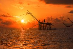 Fishermen catching prawns early morning in Phatthalung province, Thailand Royalty Free Stock Image