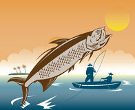 Fishermen catching a tarpon fish. Vector illustration of a Big game fishermen catching a tarpon fish with sea and island in the background Stock Photos