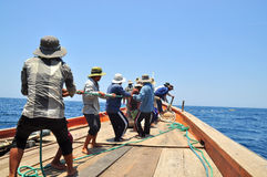 Fishermen are catching tuna with a trawl net. Stock Photo