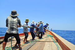 Fishermen are catching tuna with a trawl net. Royalty Free Stock Images