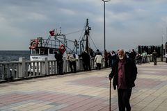 Fishermen Of Cinarcik Town. Of the country Turkey. Yalova city located in Marmara region of the country Turkey. Used to be a small town and hit by the great Royalty Free Stock Photography