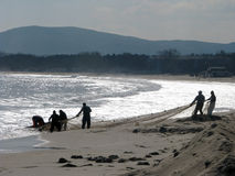 Fishermen. On the coast of the Black Sea in Bulgaria in the fall Royalty Free Stock Photography