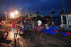 Fishermen are collecting and sorting fisheries after a long day fishing in the Hon Ro seaport, Nha Trang city Stock Photos