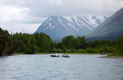 Fishermen competing in a derby on the kenai Stock Image