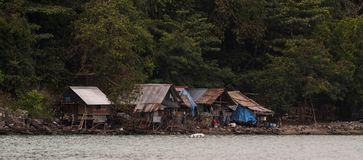 Fishermen Cottages Andaman Sea. Fishermen cottages in the andaman sea in Asia. Beautiful scenic location in the forest by the sea Royalty Free Stock Photo