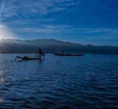Fishermen at dawn of Inle lake. Myanmar (Burma Royalty Free Stock Images