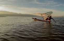 Fishermen at dawn of Inle lake. Myanmar (Burma Stock Image