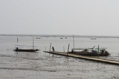 Fishermen at Don Hoi Lam Samut Songkhram Province royalty free stock photos