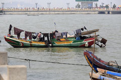 Fishermen drying clothes on the boat Royalty Free Stock Photos