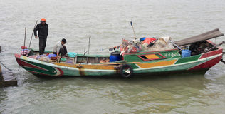 The fishermen family. Fishermen family live on the boat, amoy city, china stock images