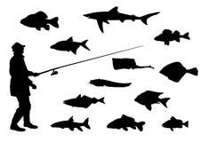 Fishermen and fishing. Equipment vector Stock Photos
