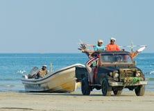 Fishermen after fishing in Al Khaluf, Oman Royalty Free Stock Photography