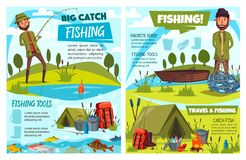Fishermen fishing with boat, rod, fish net, tent. Fishing sport fish, fisherman tackle, gears and tourism equipment vector design. Cartoon fishers with fishing vector illustration