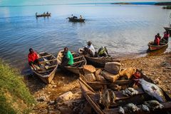 Fishermen and fishing boats with fish on the counter on Lake Tanganyika. Mpulungu, Zambia - March 23, 2015: fishermen and fishing boats with fish on the counter royalty free stock images