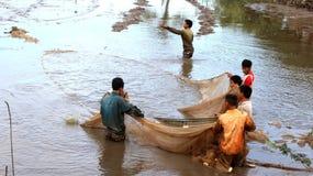 Fishermen fishing in the lagoon Royalty Free Stock Photos