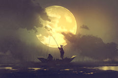 Fishermen with fishing rod on boat and big moon on background Stock Photos