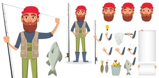 Handsome fisher, cheerful cartoon character. Fishermen with fishing rod and fish. Fisher cartoon character creation set. Pack of body parts, emotions and Stock Photo