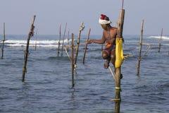 Fishermen are fishing in sea water. Sri Lanka Stock Image