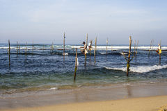 Fishermen are fishing in Sri Lanka. Royalty Free Stock Photos