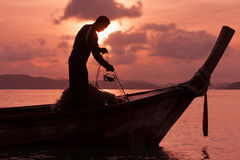 Fishermen. Fishnet during sunrise in thailand Stock Image