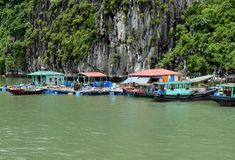 Fishermen Floating Village On Famous Halong Bay Stock Photos