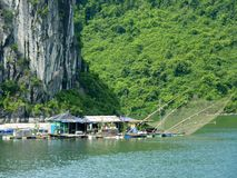 Fishermen Floating Village On Famous Halong Bay Stock Image