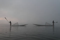 Fishermen in the fog Royalty Free Stock Images
