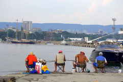 Varna city fishermen Stock Photos