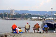 Varna city fishermen Stock Photos