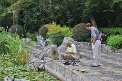 Fishermen in Fuxing Park, Shanghai Royalty Free Stock Images