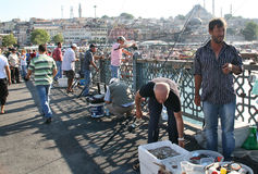 Fishermen on Galata bridge, Istanbul Royalty Free Stock Images