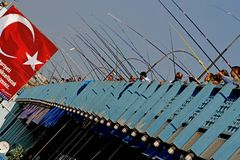 Fishermen on the Galata Bridge in Istanbul Royalty Free Stock Images